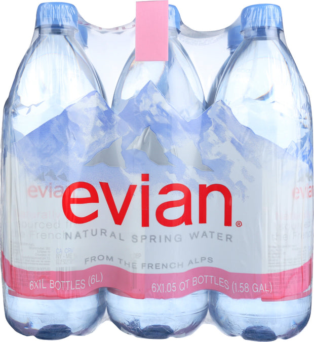 EVIAN: Spring Water 6 Pack, 6 lt