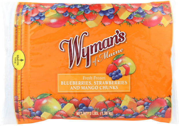 WYMAN'S OF MAINE: Fresh Frozen Blueberries Strawberries and Mango Chunks, 3 lb