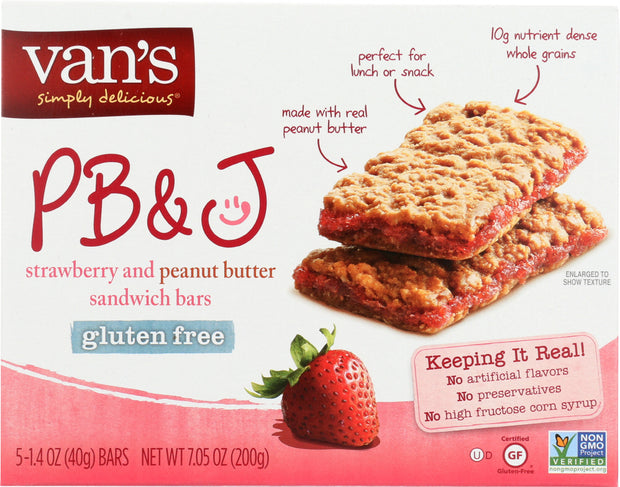 VANS: PB&J Strawberry and Peanut Butter 5 Sandwich Bars, 7.05 Oz