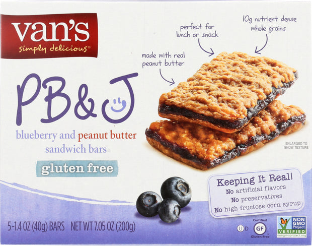 VANS: PB&J Blueberry and Peanut Butter 5 Sandwich Bars, 7.05 Oz