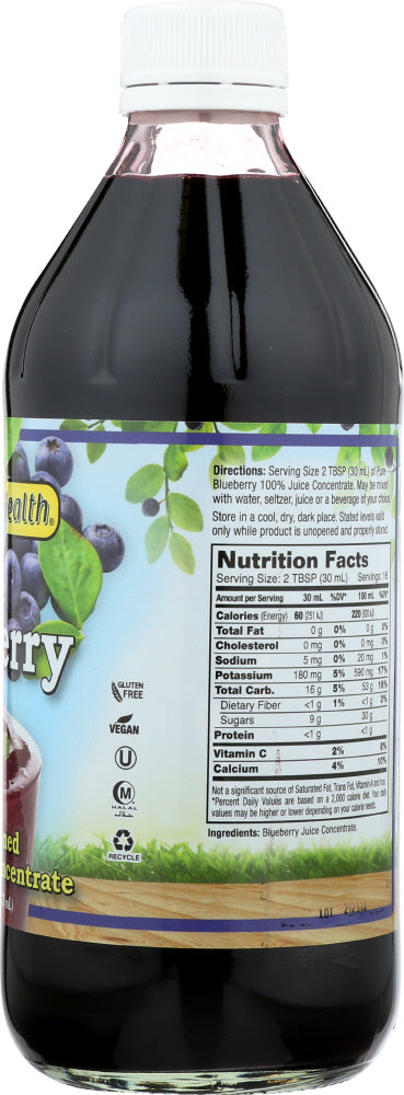 DYNAMIC HEALTH: Juice Blueberry Concentrate Pure, 16 fo