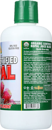 DYNAMIC HEALTH: Organic Certified Nopal Superfruit Juice Blend, 33.8 Oz