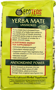 ECO TEAS: Yerba Mate Pure Leaf Loose Tea Green Energy Unsmoked, 16 oz