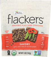 DOCTOR IN THE KITCHEN: Flackers Flax Seed Crackers Savory Garlic-Onion-Basil and Red Chile Pepper, 5 oz