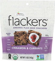 DOCTOR IN THE KITCHEN: Flackers Flax Seed Crackers Cinnamon & Currants, 5 oz