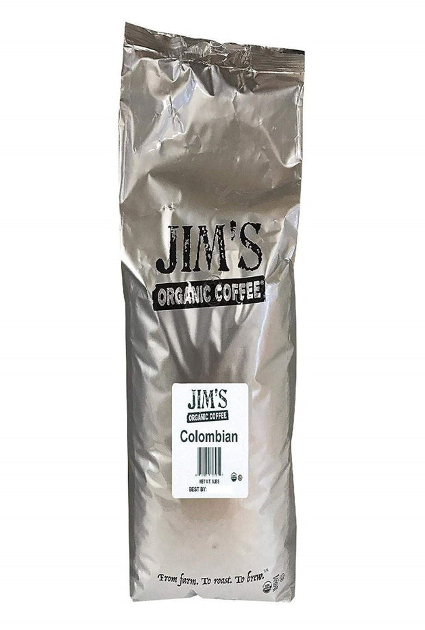 JIMS ORGANIC COFFEE: Organic Colombian Whole Bean Coffee, 5 lb