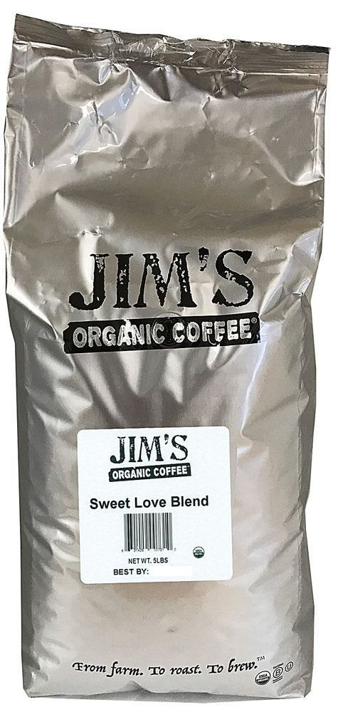 JIMS ORGANIC COFFEE: Organic Sweet Love Blend Coffee, 5 lb