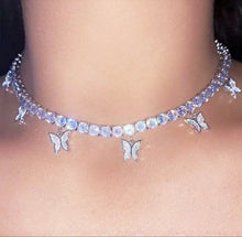 "Load image into Gallery viewer, ""Diamond Butterfly Choker"""
