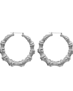 """Silver Bamboo Hoops"""