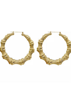 """Gold Bamboo Hoops"""