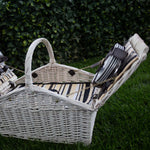 4 Person White Wicker Picnic Basket