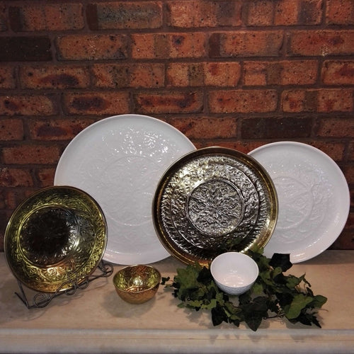 Angelique Metal Ware Platter - Large Gold