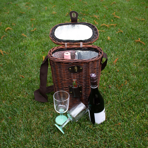 Wicker double bottle wine cooler - Chocolate