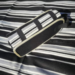 Black and White Striped Picnic Rug