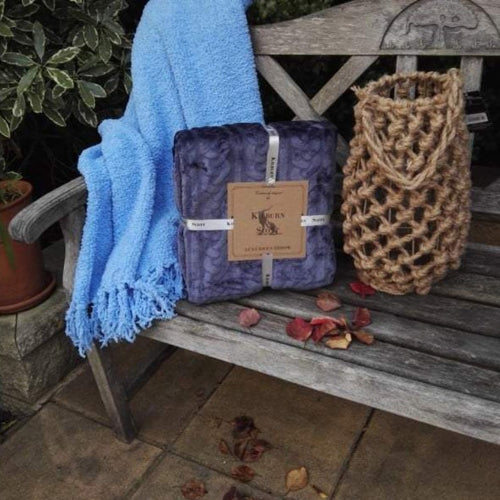 Cable Fleece Throw - Inky Blue