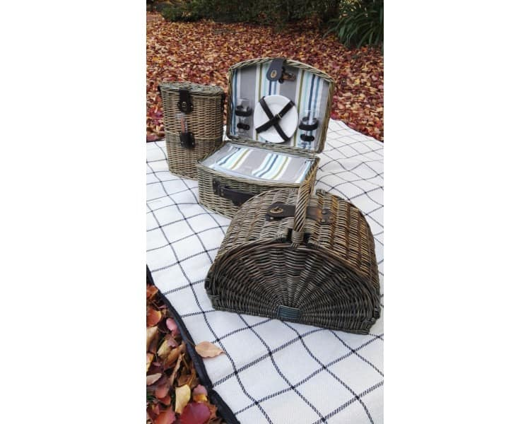 2 Person Willow Picnic Basket - Grey