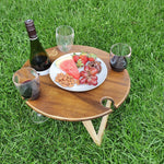 Portable Folding Picnic Table - Round Chocolate