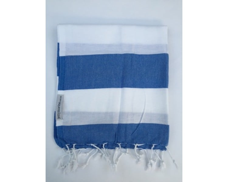 Picnic Towel - Margaux Royal Blue & White