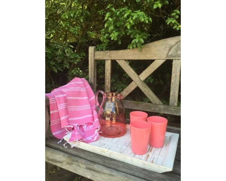 Picnic Towel - Maine Hot Pink & White