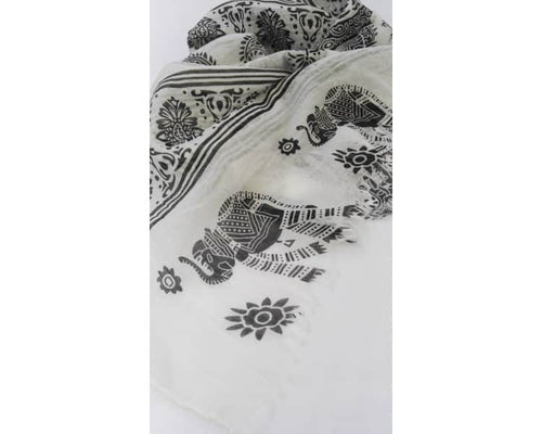 Nepal Scarf - White / Black