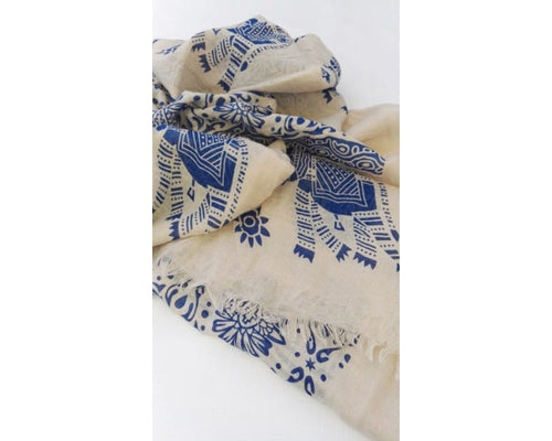 Nepal Scarf - Cream / Blue