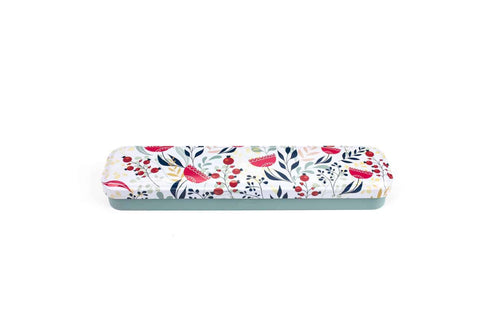 Image of personal cutlery set metal cutlery case. The lid is white with a botanical print of blue, red and yellow pattern, it has a pale blue base.