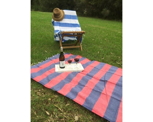 Portofino Navy & Red Turkish Towel