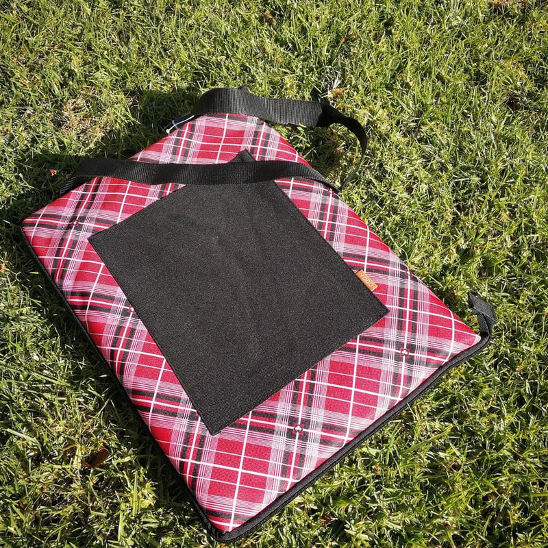 Red Tartan Picnic Rug, Stadium Cushion