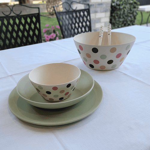 Bamboo Salad Set - Spotty