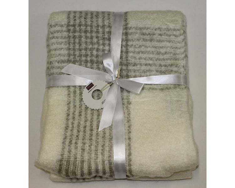 Venetian Silk Throw Cream Dark Grey Checker