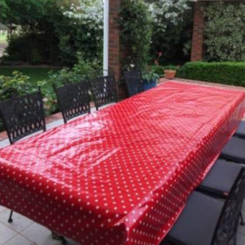Laminated Tablecloth - Red with Small White Spot