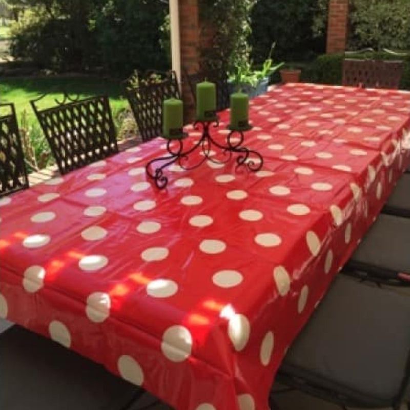 Laminated Tablecloth - Red with Large White Spot