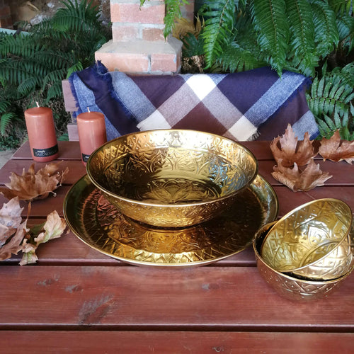 Angelique Metal Ware Serving Bowl - Large Gold