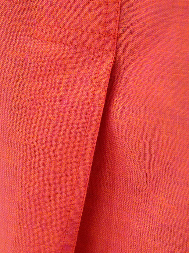 nehru-collar shirt in blood orange pure linen canvas