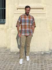 deauville short sleeve mao-collar shirt in linen with large checks