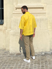 deauville short sleeve mao-collar shirt in yellow pure linen canvas