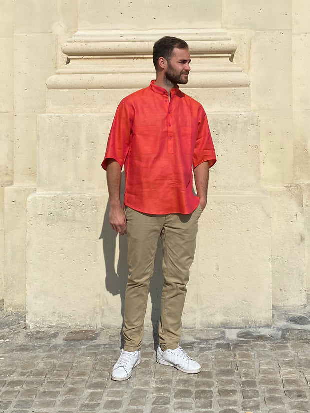 deauville short sleeve mao-collar shirt in blood orange pure linen canvas