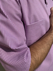 deauville short sleeve mao-collar shirt in mauve gingham