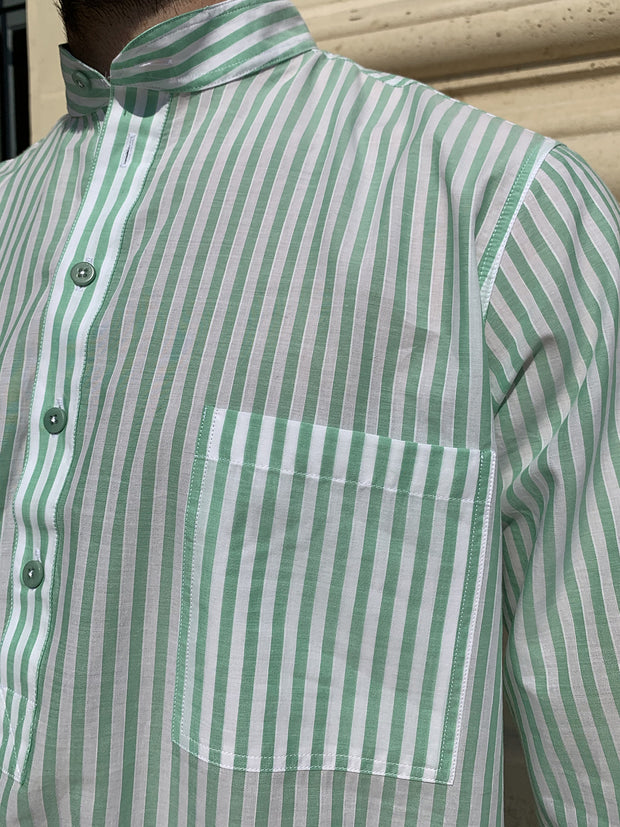 deauville short sleeve mao-collar shirt in green stripes cotton
