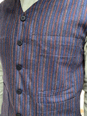 wool-and-cashmere basket weave with irregular stripes patch-pocket waistcoat