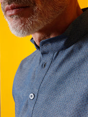 chemise à col nehru en coton chambray blue pin point