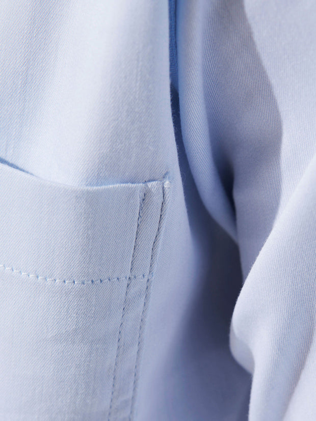 nehru-collar shirt in sky blue stretch cotton