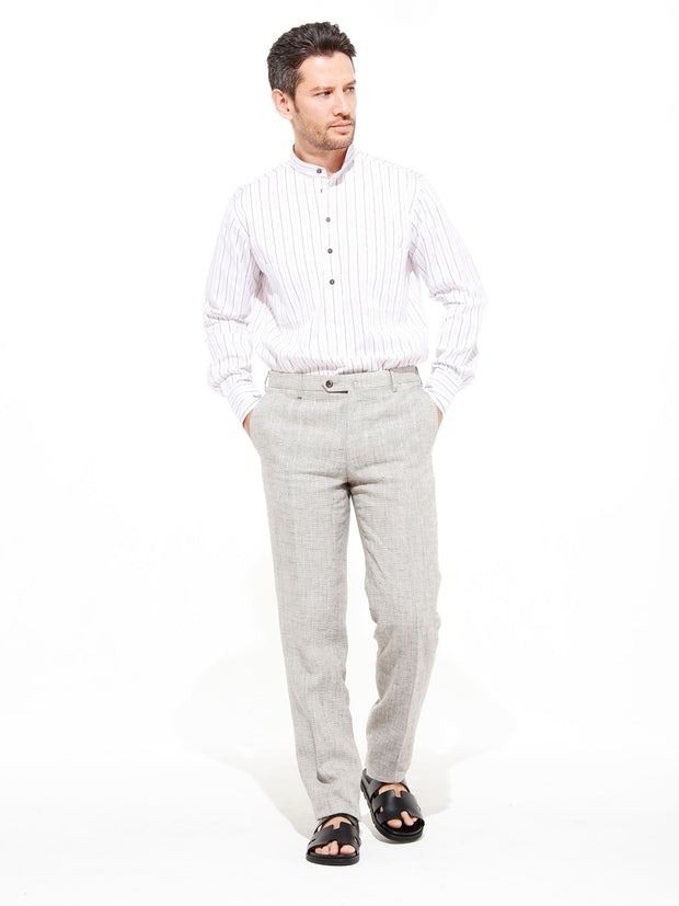 nehru-collar shirt in cotton cloth with thin stripes