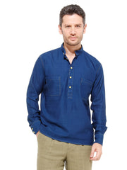 nehru-collar shirt in indigo cotton with hollington yellow details