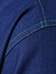 nehru-collar shirt in indigo cotton with pistachio-coloured details