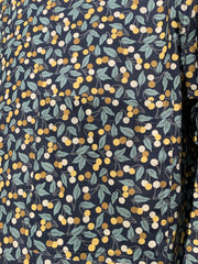 nehru-collar shirt in liberty® cotton with a yellow cherries pattern