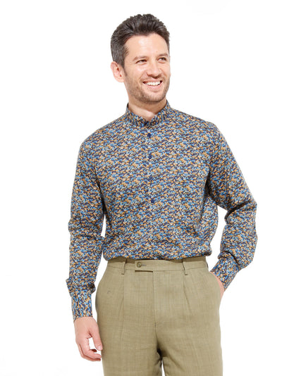 nehru-collar shirt in liberty® cotton with hearts