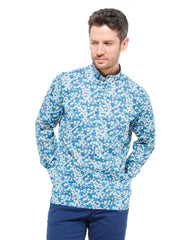 nehru-collar shirt in liberty® cotton with white flowers
