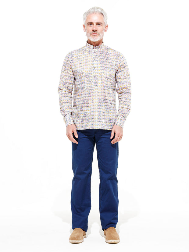 nehru-collar shirt in Liberty® cotton with lozenges
