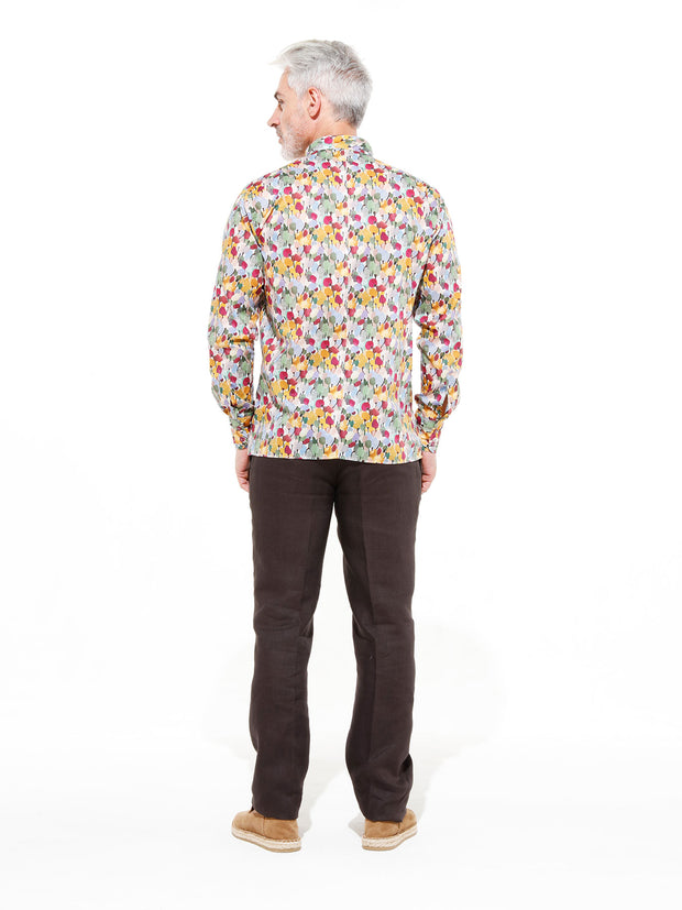 nehru-collar shirt in tulip Liberty® cotton